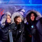Ice Bar London, Girls enjoying a selfie with their Ice Bar cocktails in the UK's only permanent Ice Bar in London's Mayfair.