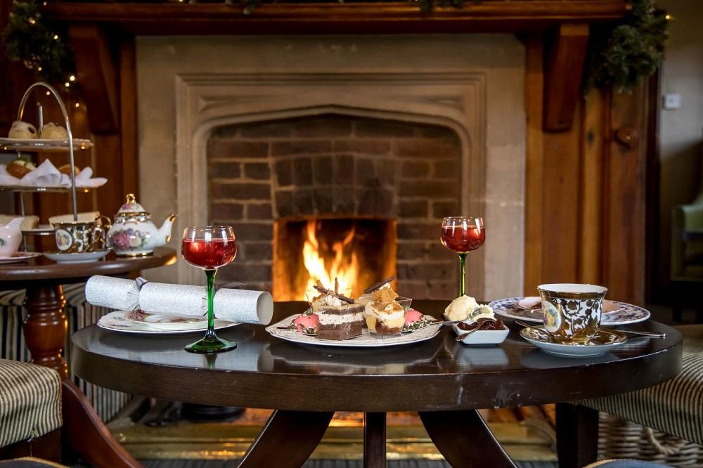 Afternoon tea at Langshott Manor, 2021.